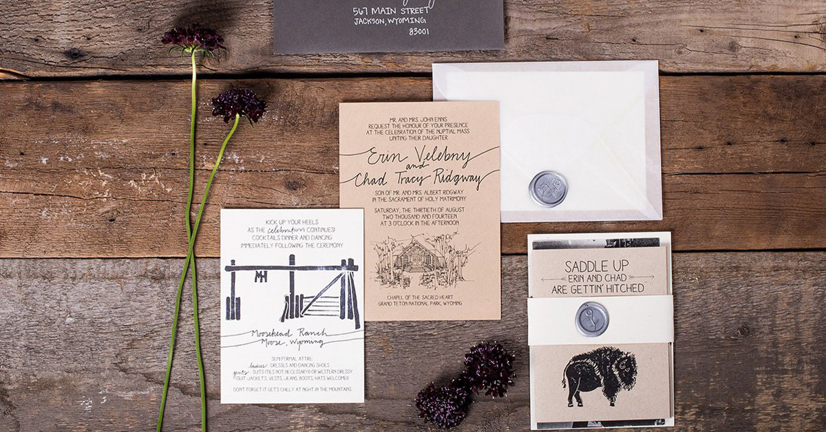 Courtney Leavell Of Bird And Buffalo Does Hand Lettered Wedding Invitations