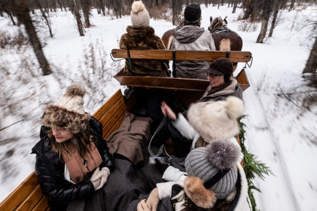 Guests Are Treated To A Vintage Sleigh Ride Through A Cottonwood Forest During The Winter Months In K